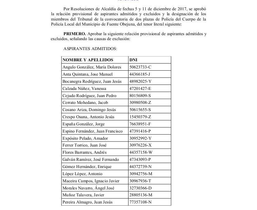 ANUNCIO LISTA PROVISIONAL Y DESIGNACIÓN MIEMBROS TRIBUNAL  1