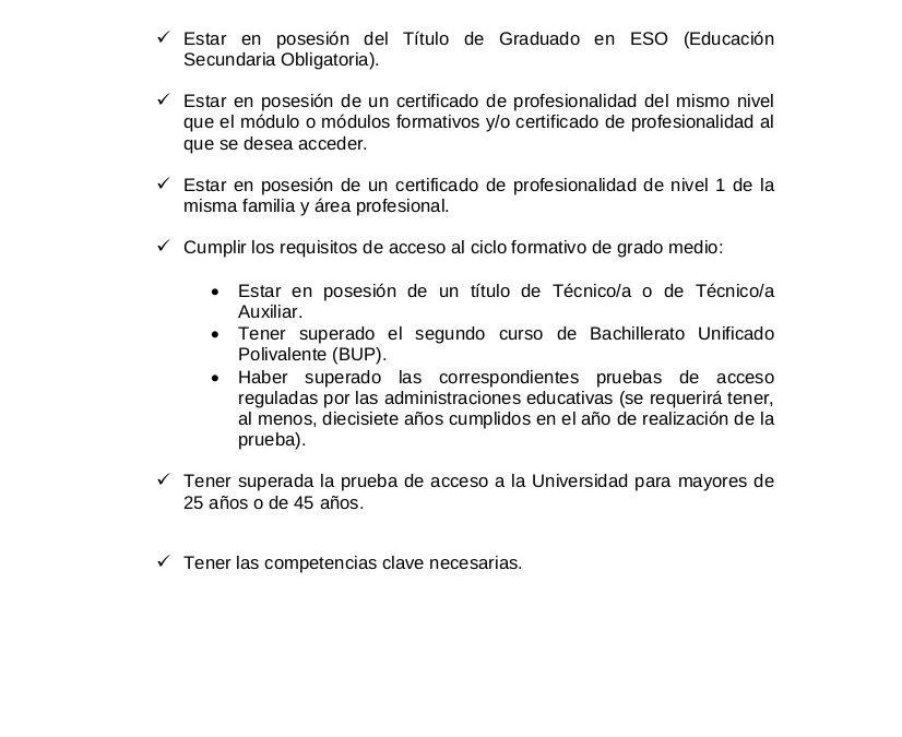 ACLARACIONES A LOS REQUISITOS DE LOS CURSOS DE FPE MANCOMUNIDAD 1