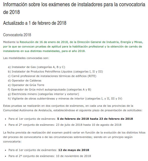 Información sobre los exámenes de instaladores para la convocatoria de 2018 1