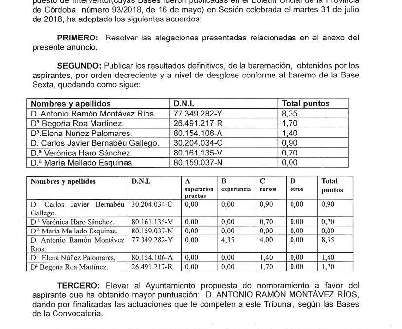 ANUNCIO DEFINITIVO CONVOCATORIA PUESTO INTERVENCIÓN 1