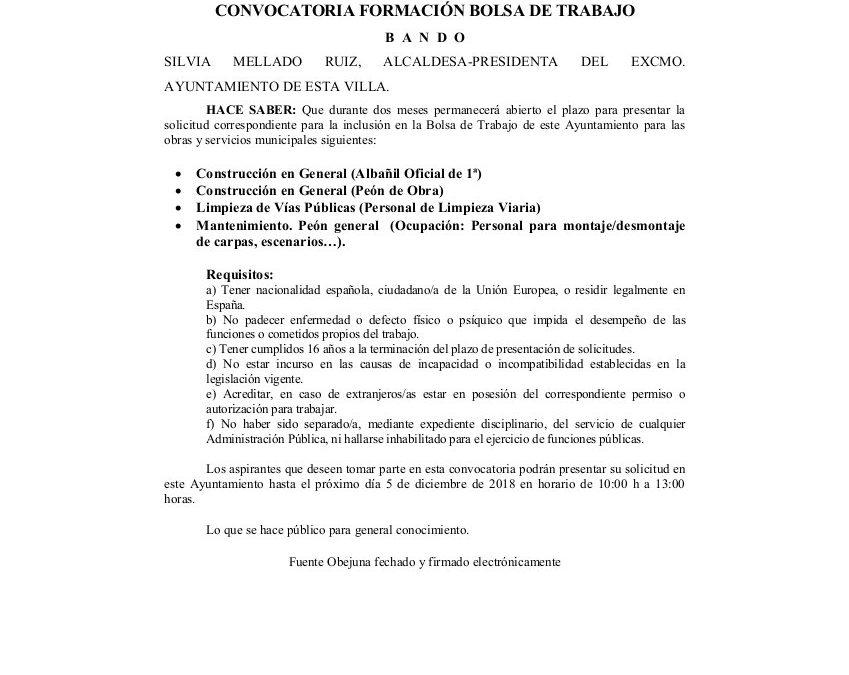 BANDO BOLSA DE TRABAJO 2018 1