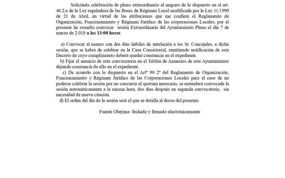 Anuncio Pleno Extraordinario 19 de Marzo de 2.019 1
